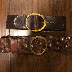 2 Bebe brown leather belts